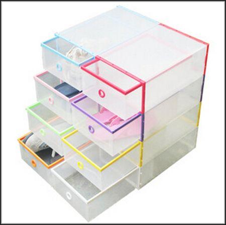 1pcs/lot 35x24.5x13.5cm Random Color Transparent Shoe Boxes Clear Plastic  PP Storage Box Packaging Box For Shoes For Men (06108) In Storage Boxes U0026  Bins ...