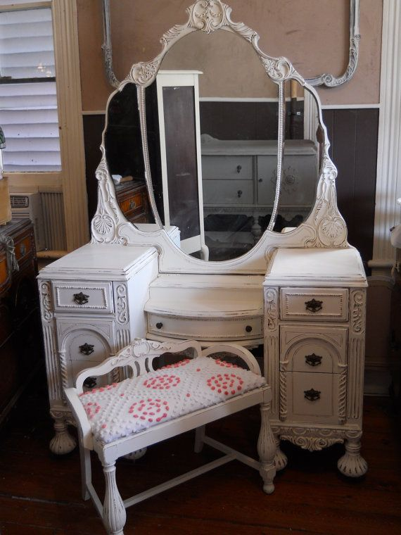 Vintage Vanity Triple Mirror And Bench By