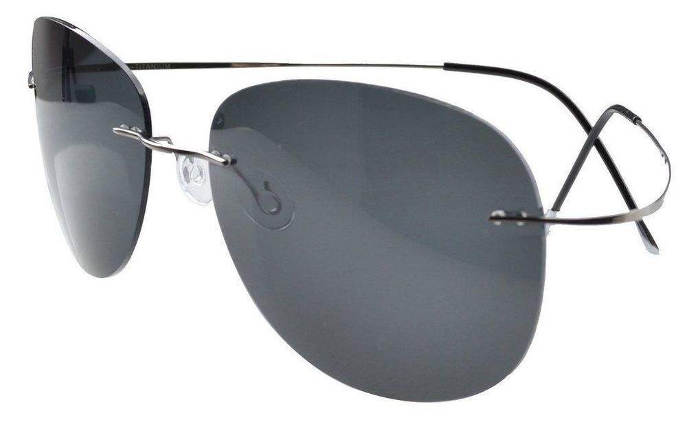 62d74292142 eBay  Sponsored Eyekepper Rimless Titanium Frame Polarized Sunglasses ( Gunmetal Grey Lens 60)