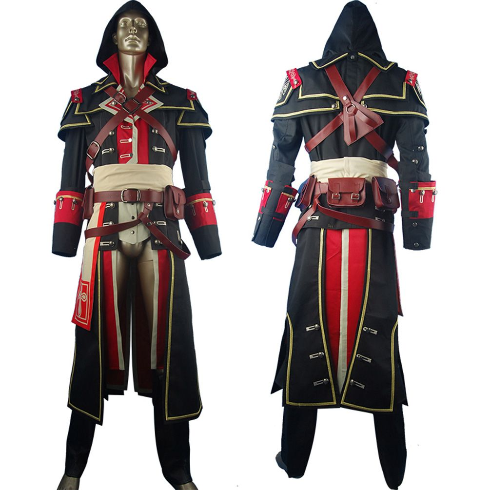 Assassins Creed Rogue Shay Patrick Cormac Outfit Unigform Hoodie Halloween  Cosplay Costume kids Boys