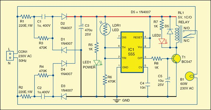 fig 2 circuit diagram of an automatic evening lamp electronics 2 circuit diagram of an automatic evening lamp