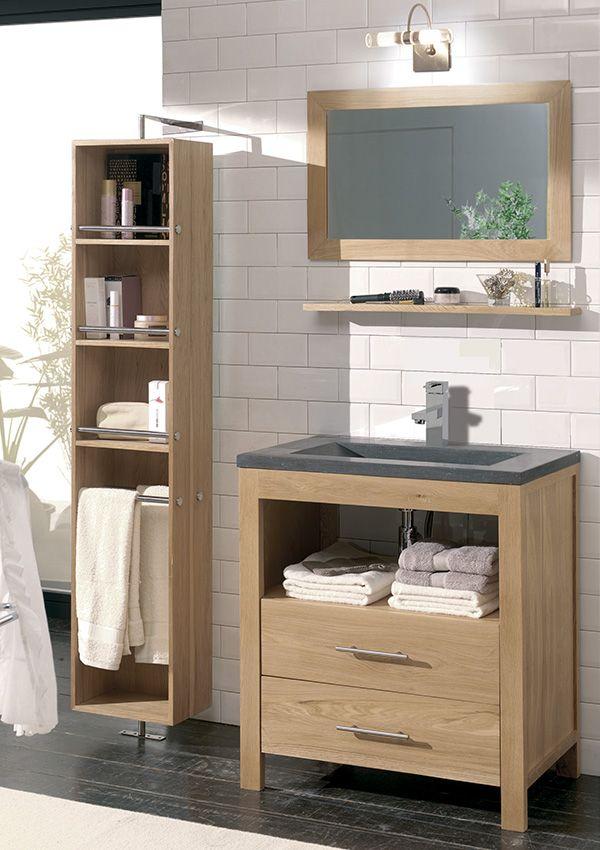Salle de bains STONE Chêne huile et pierre naturelle / de chez