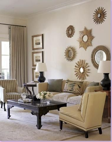 Exceptionnel Sunburst Mirror Collage For Above Fireplace