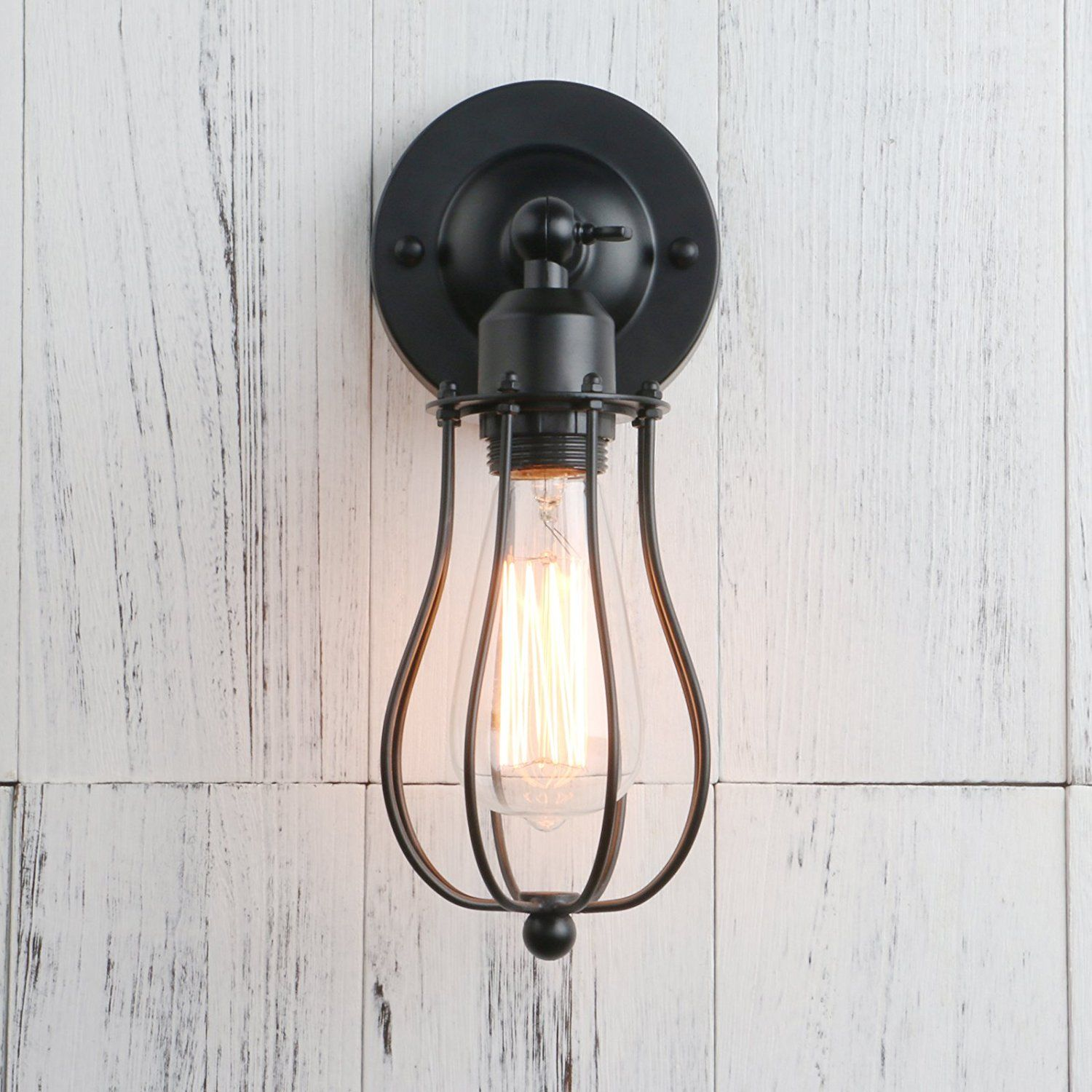 Permo Industrial Vintage Metal Wire Cage Wall Sconce Lighting Wiring A Ceiling Lamp Fixture Mount Light Black