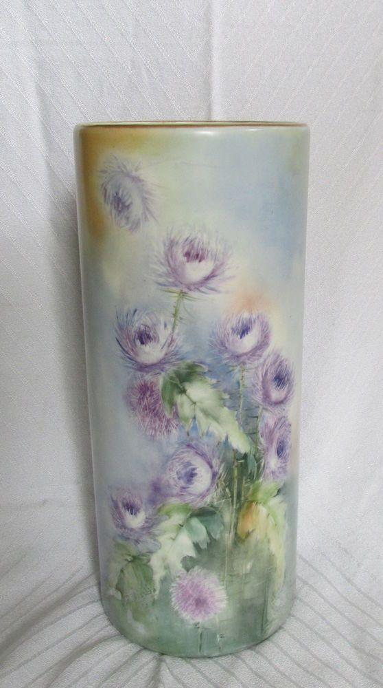 Antique Belleek Willets Hand Painted Porcelain Vase Purple Thistle