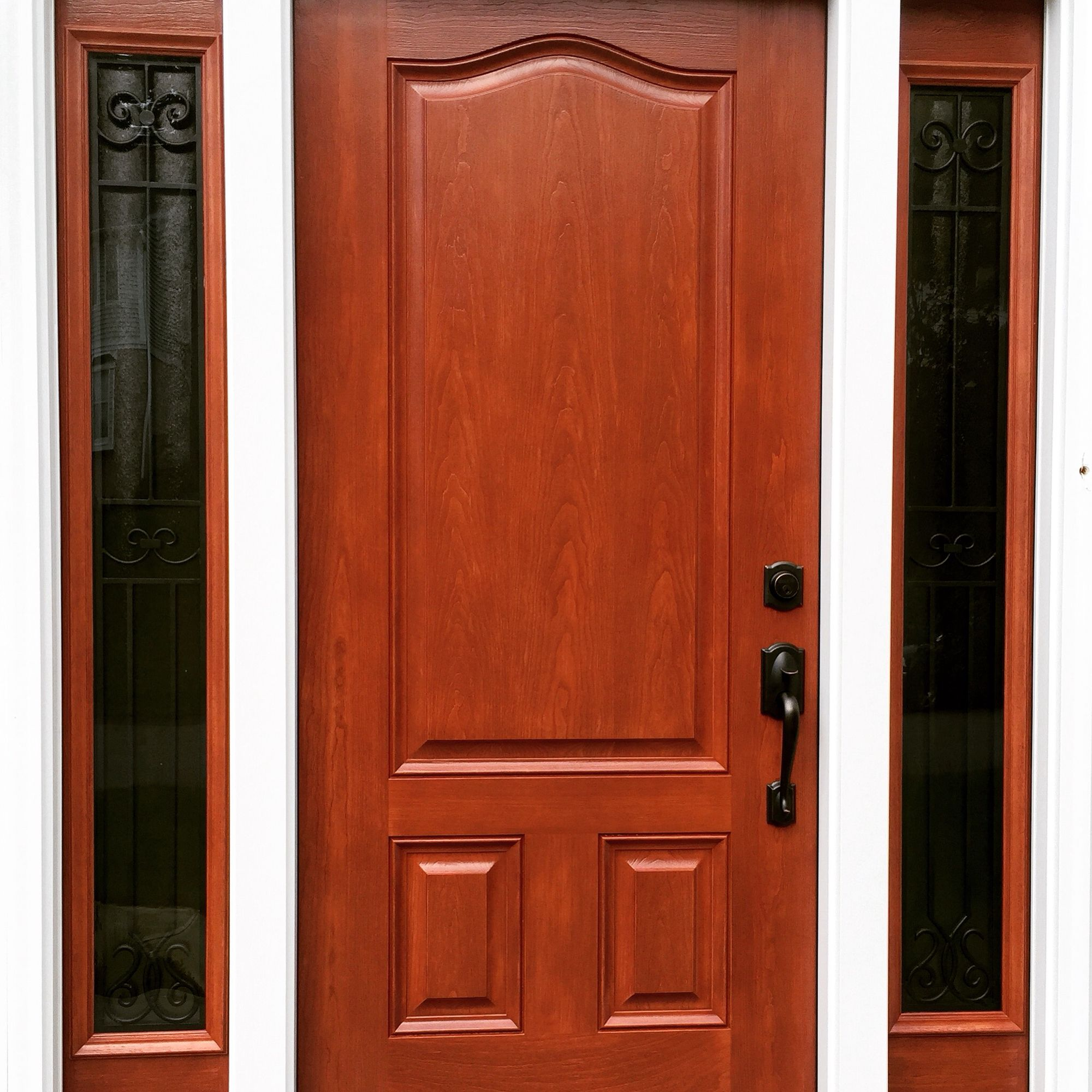 Provia Signet Fiberglass Entry Door Stain Color Toffee With Barcelona Glass Chinchilla Privacy
