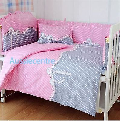Baby Bedding Crib Cot Bumpers Quilt Sheet Set Pink Grey Polka