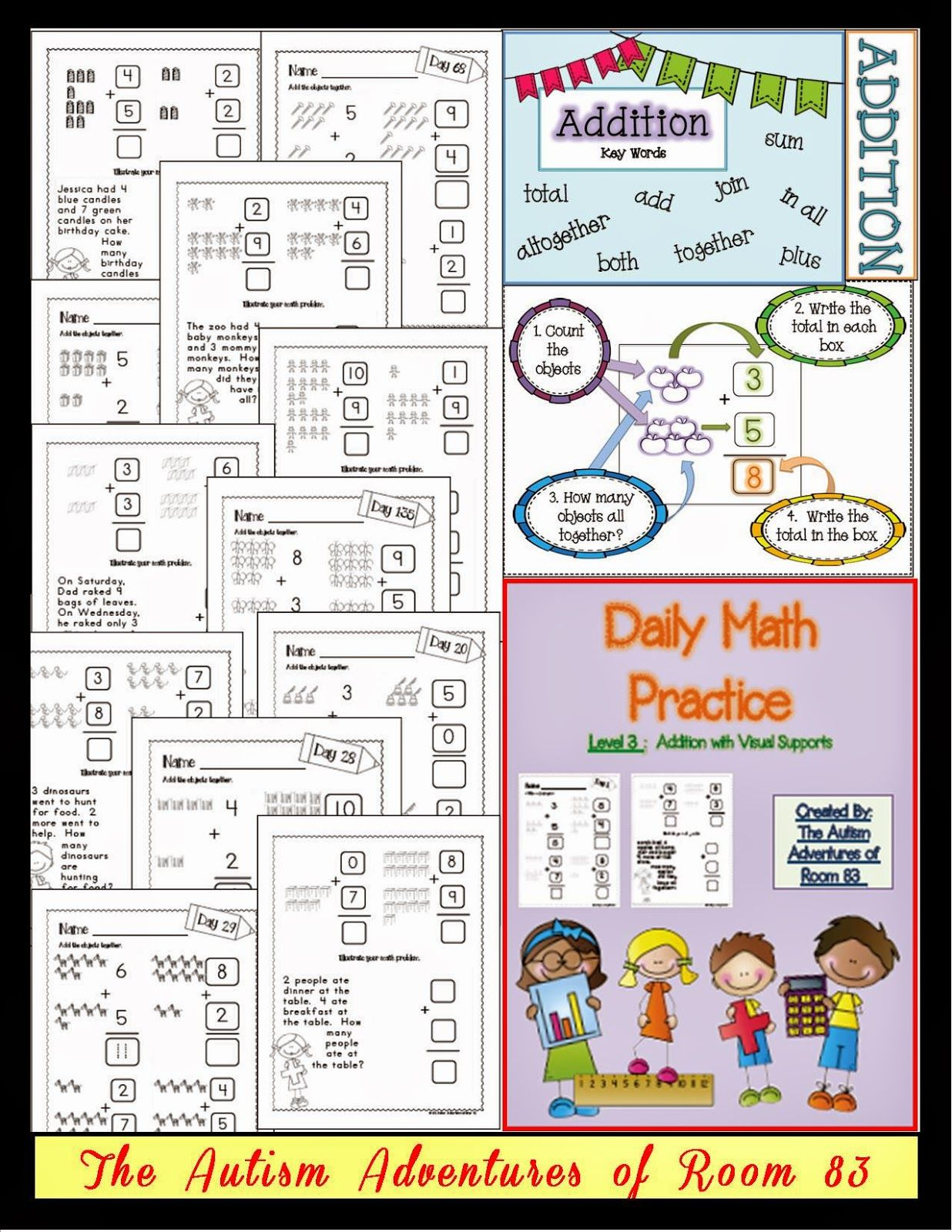 Daily Math Practice- Level 3 (Addition with Visuals): Math ...
