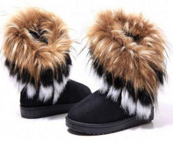 Femmes Mode Fox d'hiver de fourrure de lapin Tassel Suede neige cuir véritable Bottes Femme & # 39; chaussures,noir,36