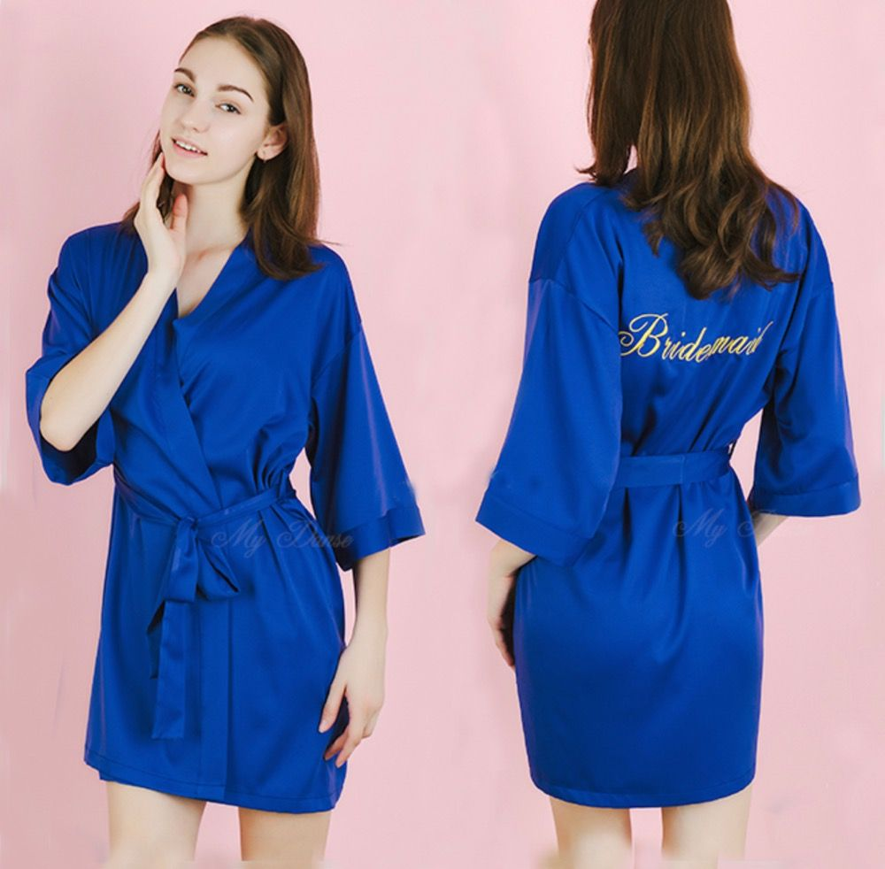 2e6dbd482e 5pcs lot Personalized Satin Nightwear Kimono Robes Birthday Bridal ...