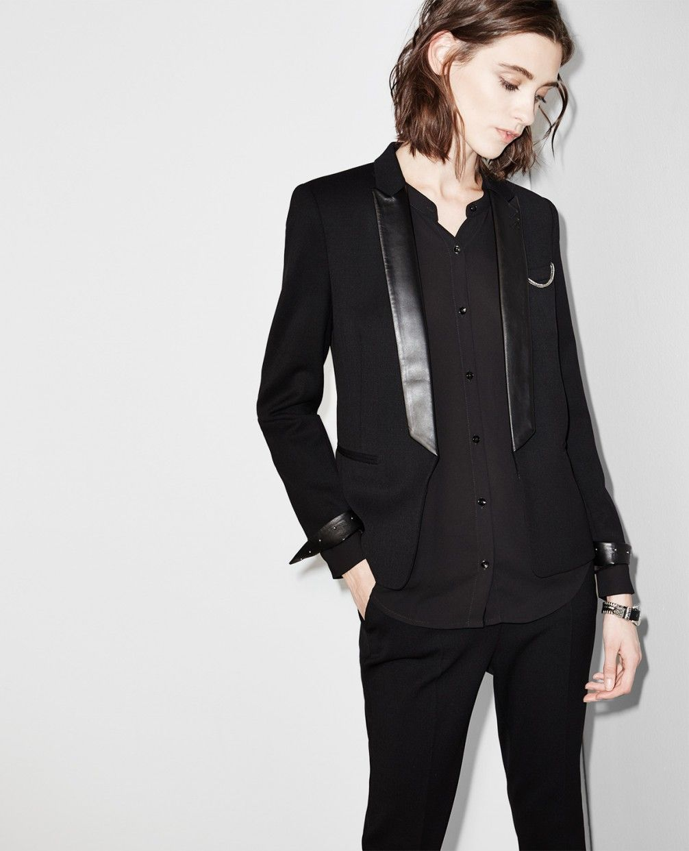 642f2aedda Jacket with tuxedo leather collar - Jackets - Women - The Kooples ...