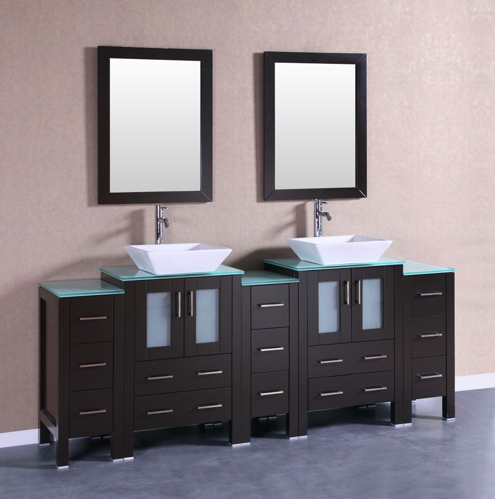 84 Inch W X 18 Inch D Bath Vanity In Espresso With Tempered Glass