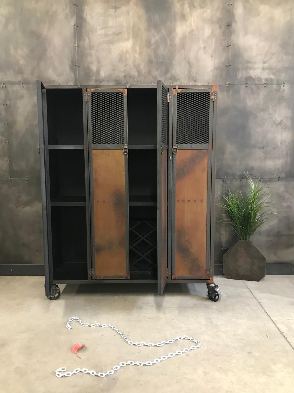 Meuble De Bar En Metal De Couleur Rouille H127 X L122 X P46 Cm Etsy Locker Storage Storage Furniture
