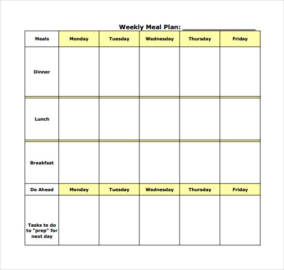 Weekly Meal Planning Template Pdf Meal Planning Template Weekly