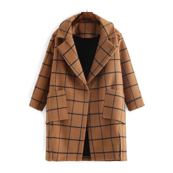 SheIn(sheinside) Camel Lapel Plaid Pockets Split Coat ($63) ❤ liked on Polyvore featuring outerwear, coats, camel, brown coat, camel coat, lapel coat, plaid coat and tartan coat