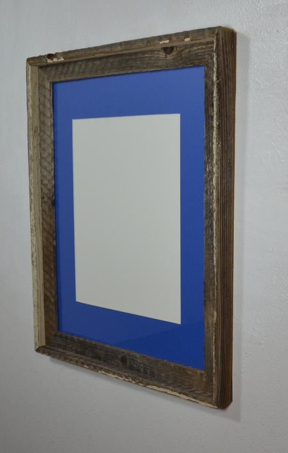 Gray Picture Frame Upcycled Wood 11x14 Blue Mat 20 Mat Colors 11x14 11x17 12x16 Or 12x18 Mat Options Grey Picture Frames Picture Frames Frame