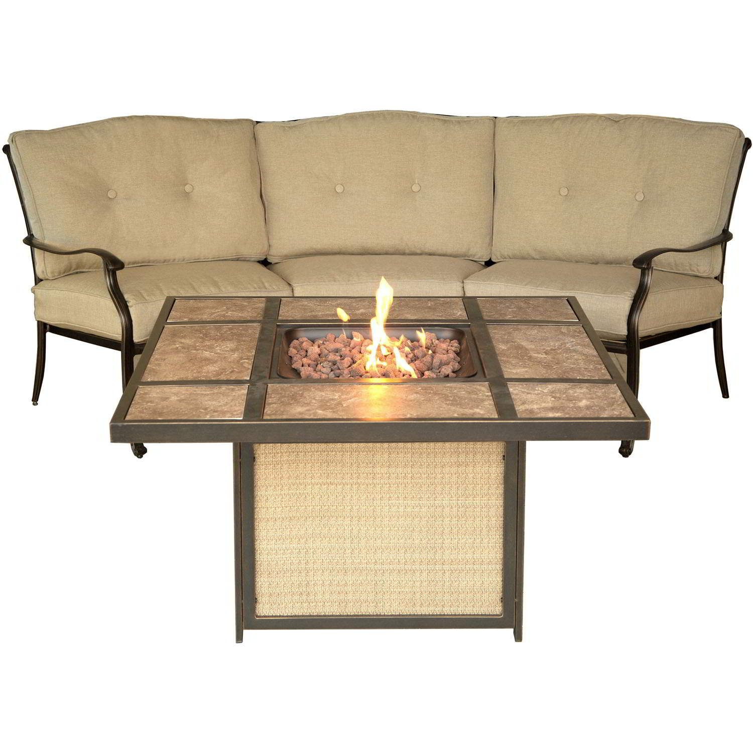 traditions crescent sofa and tile top fire pit set outdoor living
