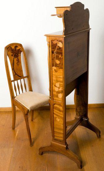 Majorelle secr taire 39 billet doux 39 et sa chaise noyer for Art nouveau chaise