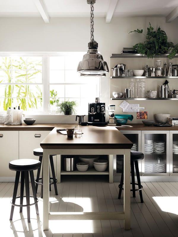 Cocina blanca vintage industrial de diesel para scavolini for Cocinas vintage modernas