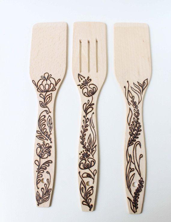 hand burned design kitchen spatula wood spatula by. Black Bedroom Furniture Sets. Home Design Ideas