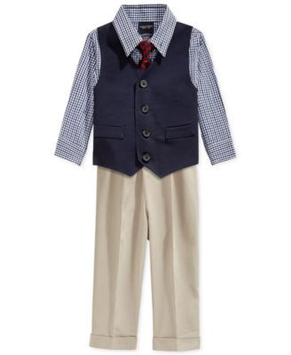 0ad467a7c9611 Nautica Baby Boys  4-Piece Vested Twill Suit Set
