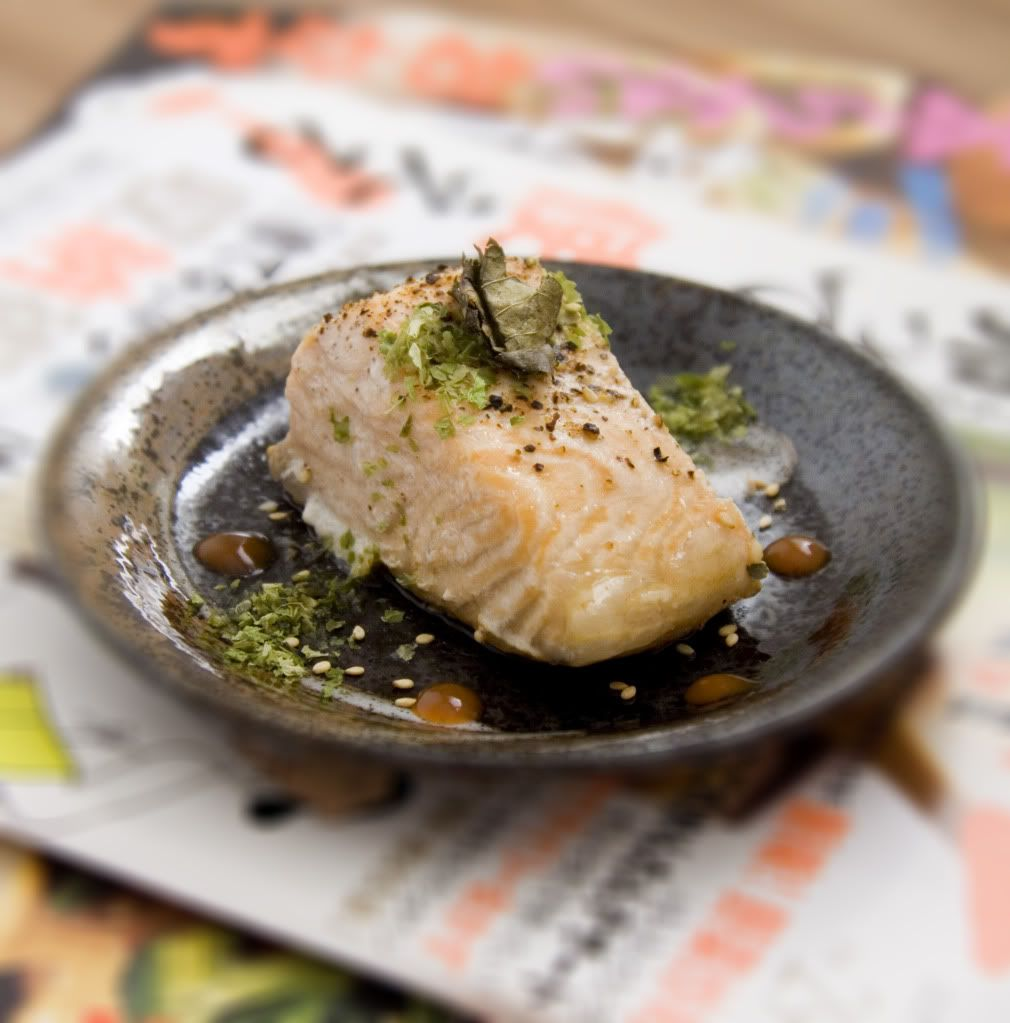 Baked Salmon Fillet With Ponzu And Dana Leaves