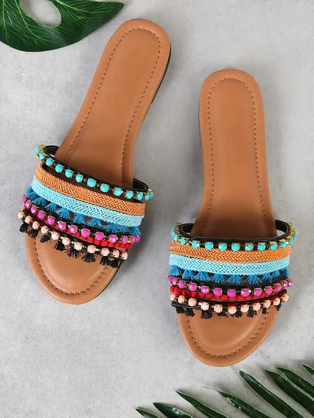 Multi Tone Embellished Strappy Sandal In 2019 Shoes