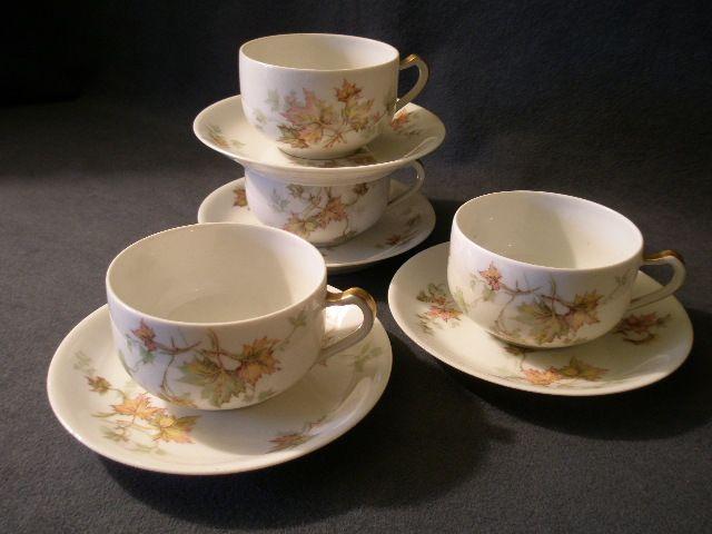 """Set of 4 Charles Haviland & Co. Limoges - """"Jewel Tea - Autumn Leaf"""" Cup & Saucer Sets"""