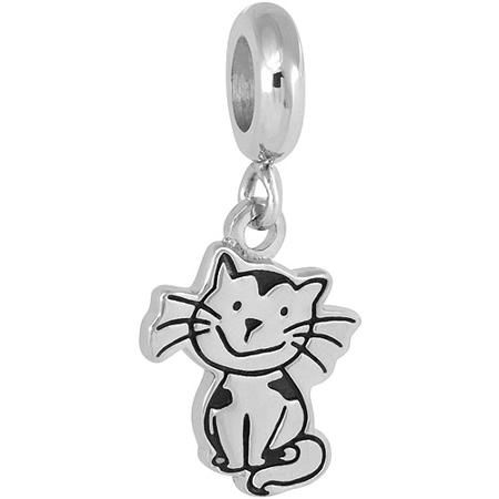 b91193655 Connections from Hallmark Stainless Steel Cat Dangle Charm - Walmart.com