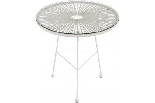 Table ethnique blanche verre métal acapulco plus d infos