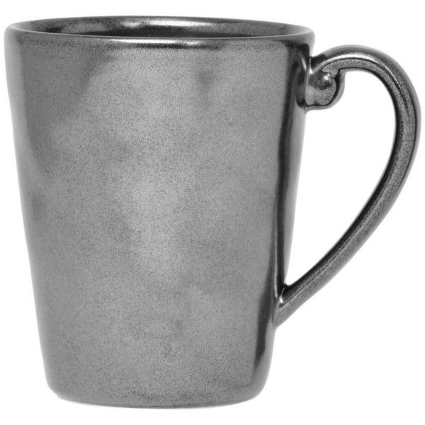 Juliska Pewter Stoneware Mug By (£23) ❤ liked on Polyvore featuring home, kitchen & dining, drinkware, coffee & tea cups, stoneware coffee mugs, juliska, pewter mug, coffee mugs and stoneware mugs