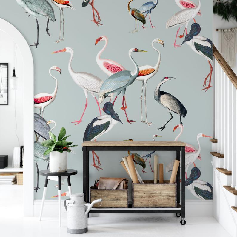 Removable Wallpaper Mural Crane Wallpaper Bird Wallpaper Etsy Removable Wallpaper Mural Wallpaper Bird Wallpaper