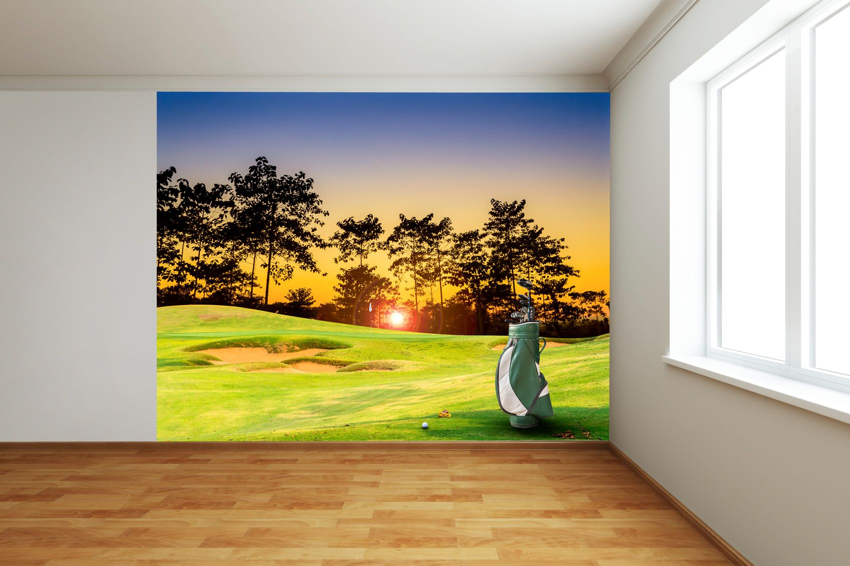 On the green sunset full wall mural wall stickers gou sports