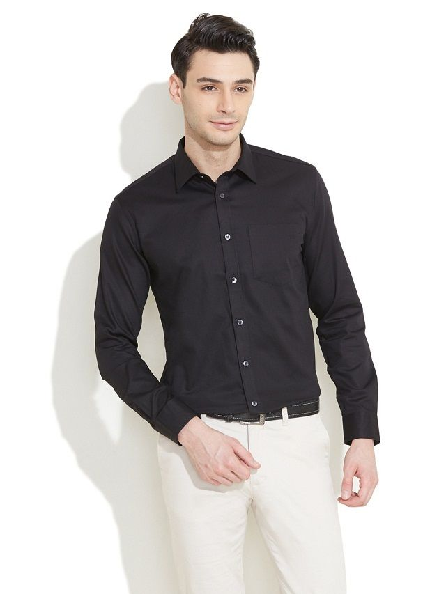 Black shirt with white formal trouser black shirt goes for Mens formal white shirts