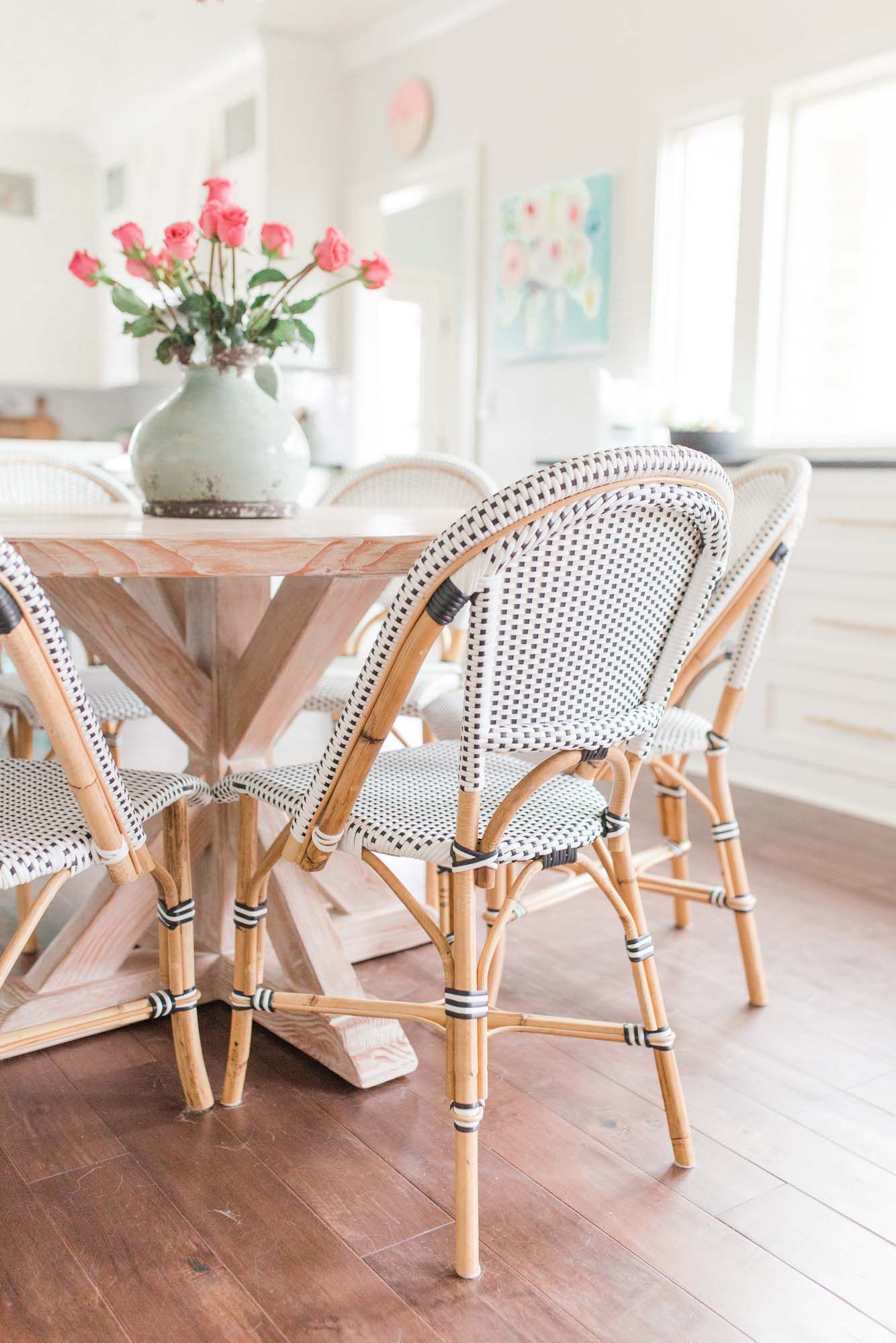 French Bistro Dining Chairs, Coastal Pastel Dining Table