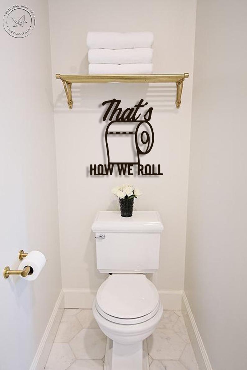 Bath Metal Word Powder Room Decor Bathroom Decor Etsy In 2021 Washroom Decor Restroom Decor Powder Room Decor