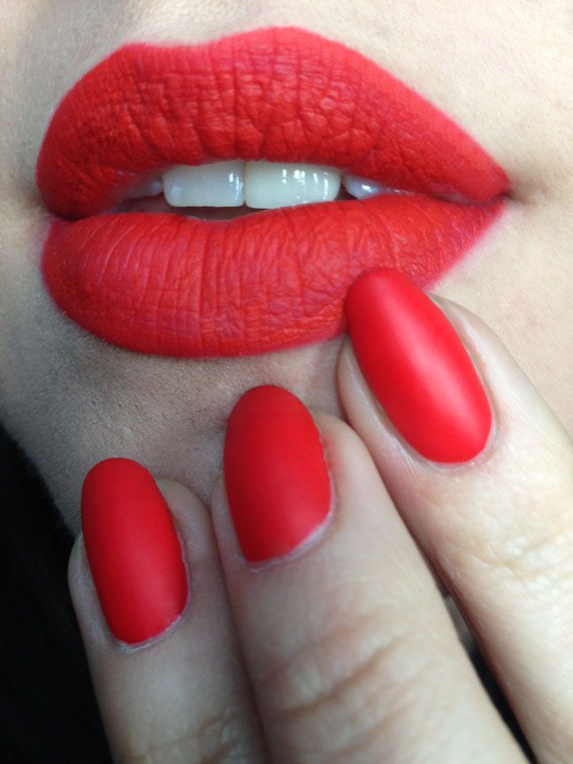 Matching Lips And Nails Coral Matte For Spring Red Nails