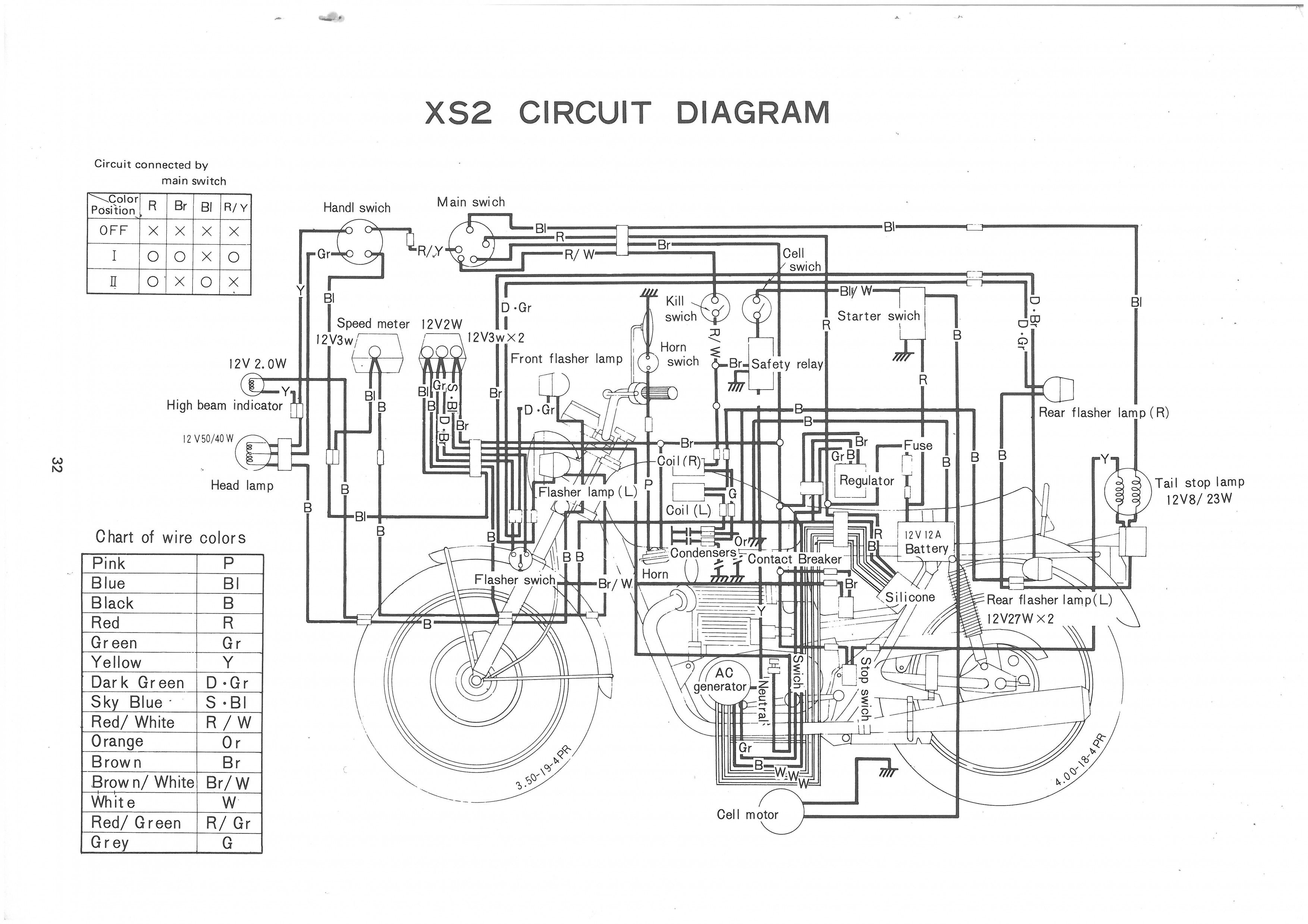 1978 Yamaha Xs650 Wiring Diagram Chertezhi