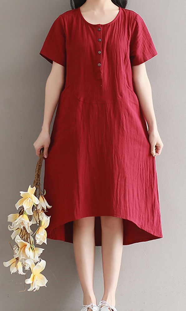 199---Linen Dress Oversized Red Loose Tunic Dress, Plus size Maternity Excluding the inner Slip Plus Size One size fits most.