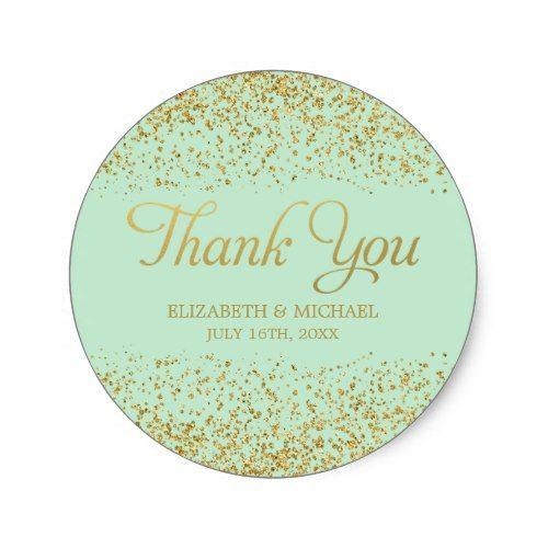 Mint Faux Gold Glitter Wedding Thank You Classic Round Sticker