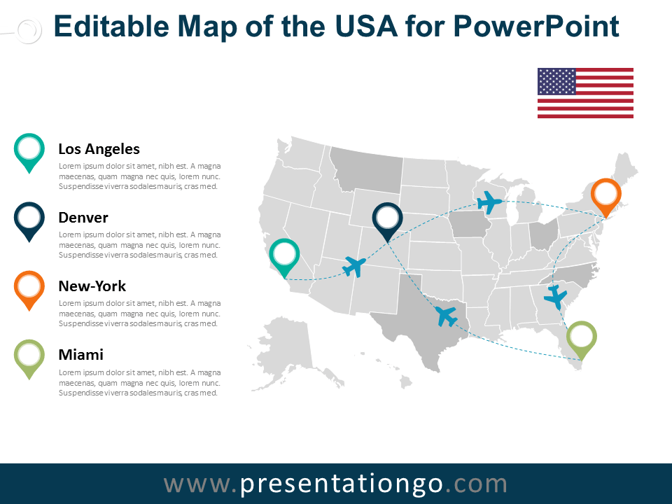 USA Editable PowerPoint Map - PresentationGO.com | PowerPoint Maps ...