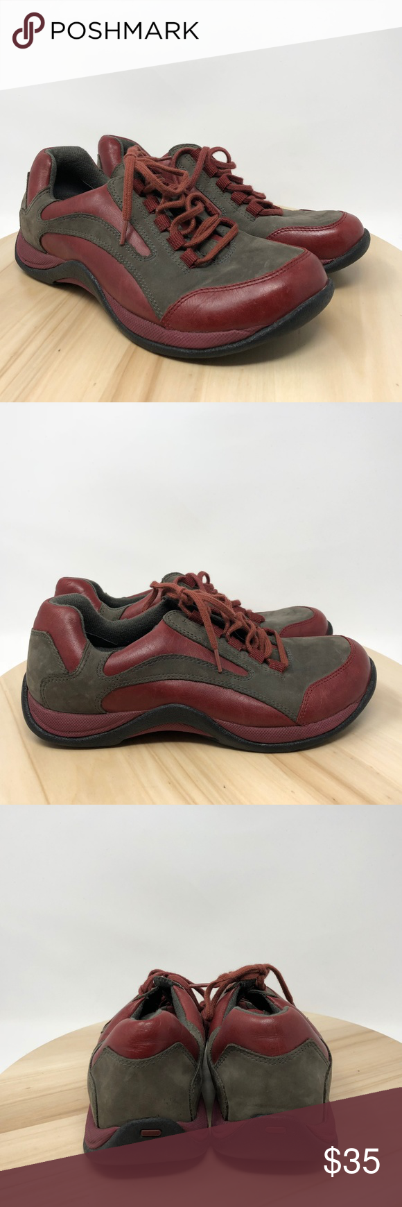 ab87c25141c5 Clarks Springer Womens Sz 7.5M Leather Sneakers R3 Clarks Springer Women s  Shoe Size 7.5M Gray Red Leather Lace Up Sneakers in good condition. These  shoes ...