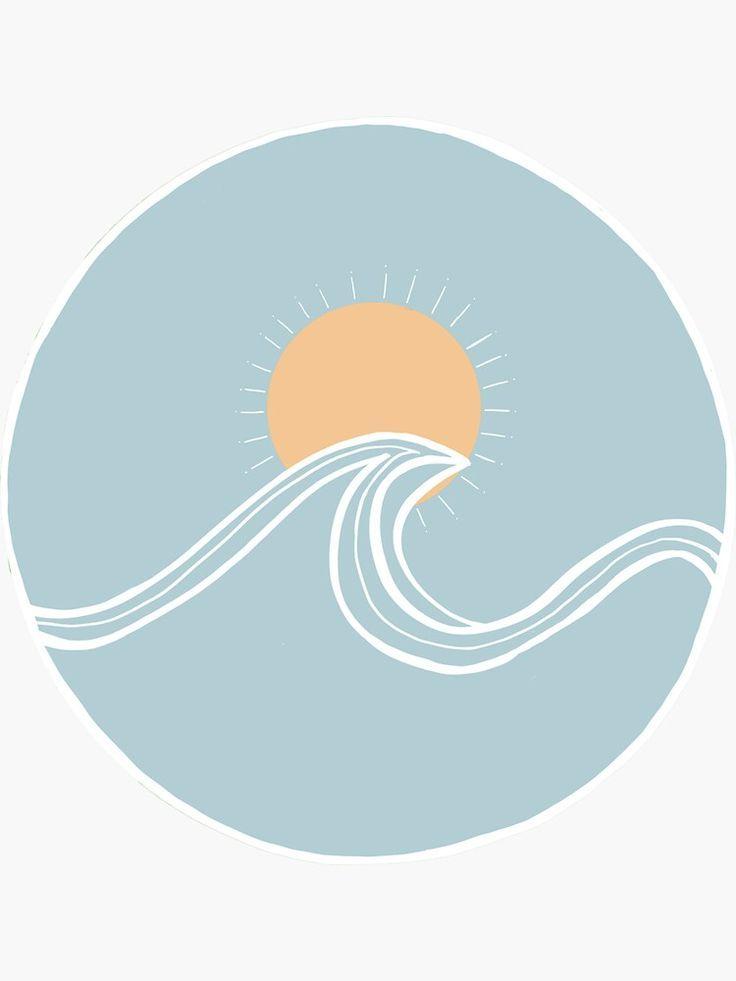 'Blue Ocean Wave with Orange Sun' Sticker by stars