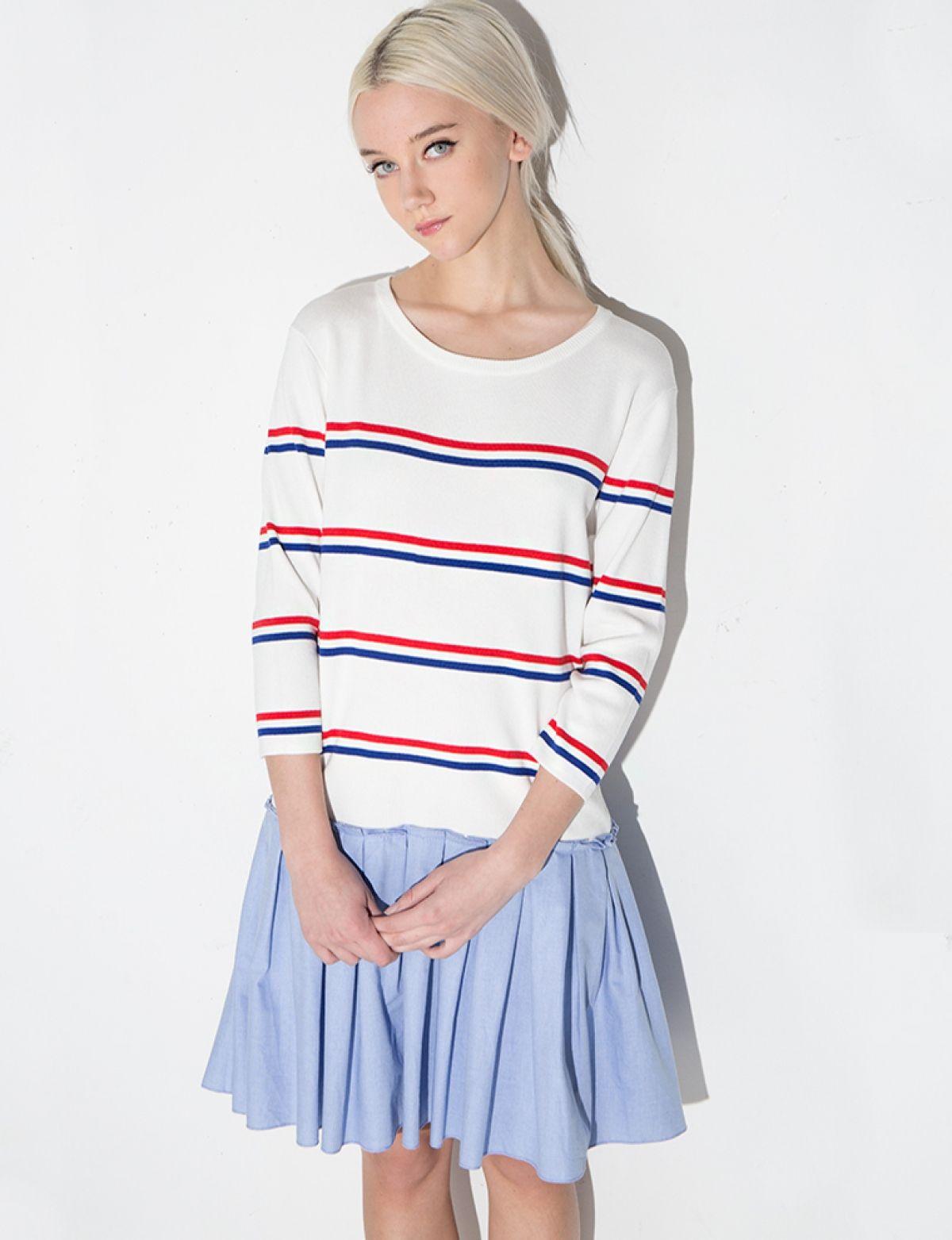 Striped Knit Pleated Dress
