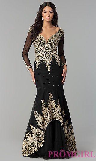 18470755887 Long Sleeve Long Lace Applique Prom Dress Plus Size Formal Dresses
