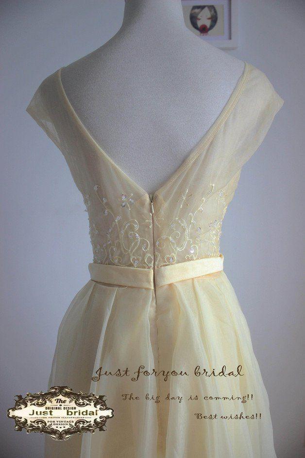 Abendkleider - hellgelb Abschlussballkleid Organza-Abendkleid - ein ...