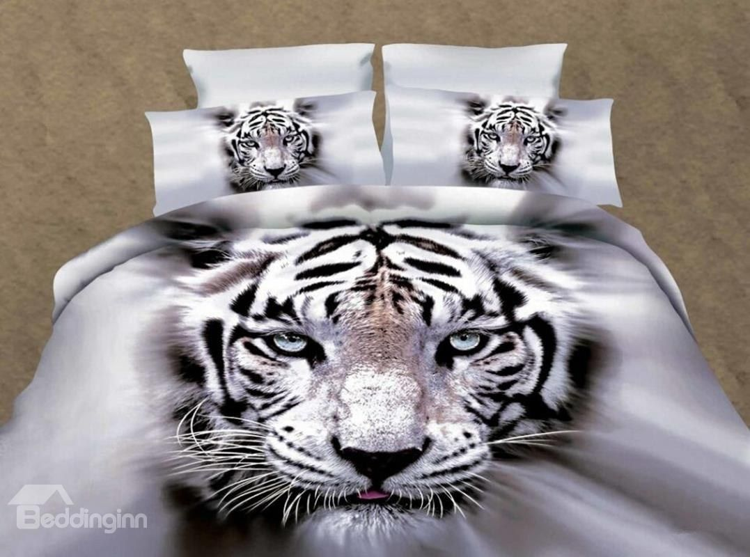 White Tiger 3D Printed Polyester 4Piece Bedding Sets 3d