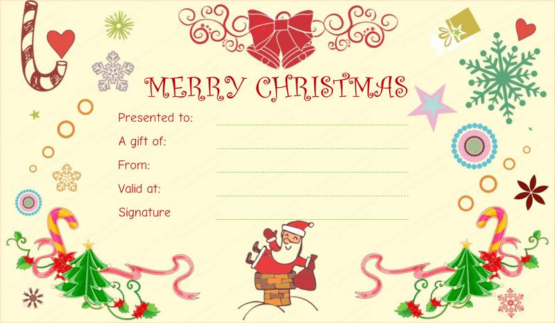 Santa Christmas Gift Certificate Template  Salon