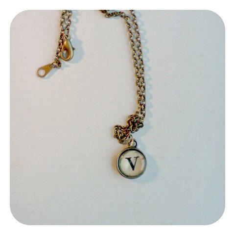 Typewriter Key Necklace Letter J by EyeDabble on Etsy, $10.00