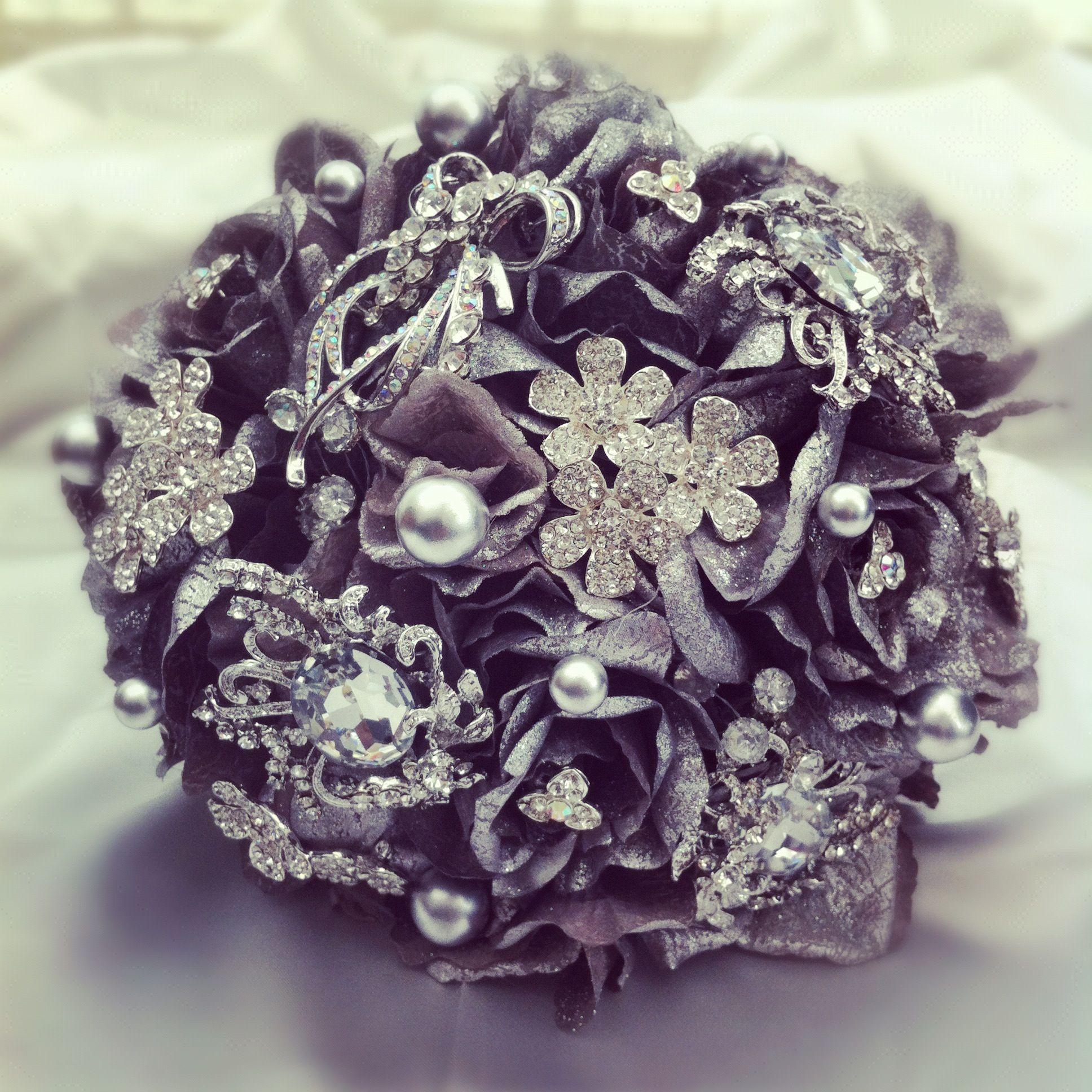 silver brooch bridal bouquet Bridal brooch bouquet